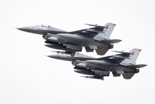 US Air Force Lockheed Martin F-16 Fighting Falcon flypast at Fairford International Air Tattoo 2017