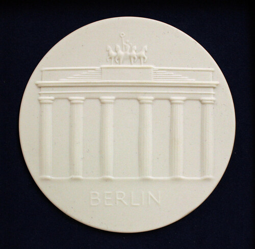 White Porcelain Medallion with bas-relief of Brandenburg Gate