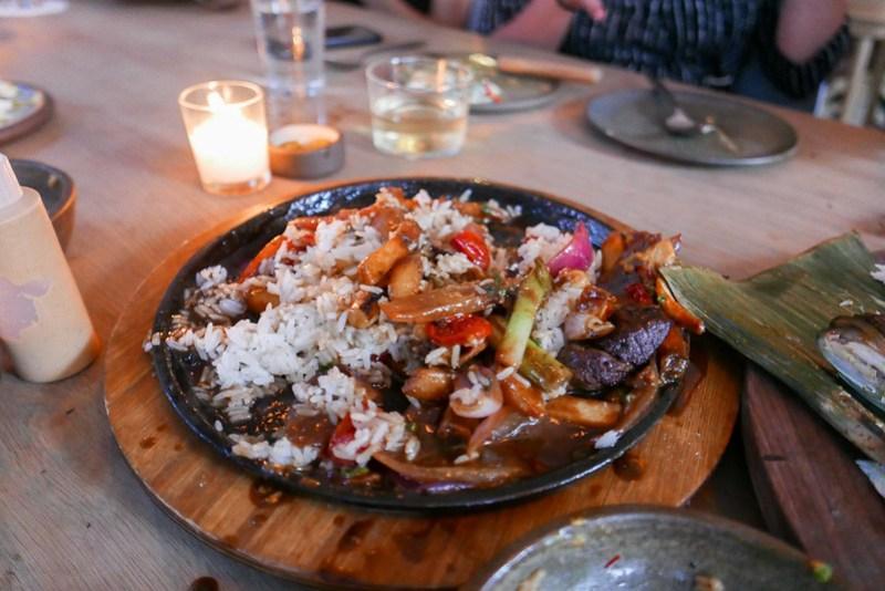 Beef Tenderloin Stir Fry, (Lomo Saltodo) Soy Sauce, Red Onion, Tomato, Avocado, Cilantro, Pickled Chilis, Rocoto Relleno, Scallion Pancake ($68)