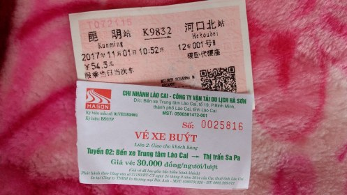 Chinese train ticket and Vietnamese bus ticket