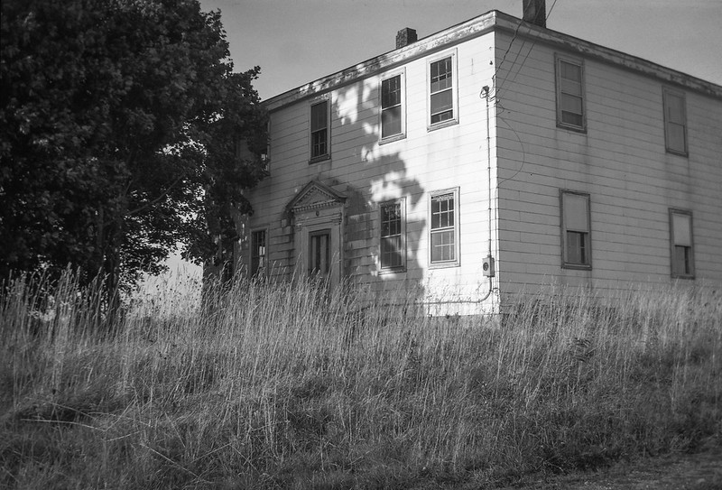 abandoned homestead, tree, cast shadow, Route 131, South Thomaston, Maine, Kodak Autographic Junior No. 1, Arista.Edu 200, early October 2017