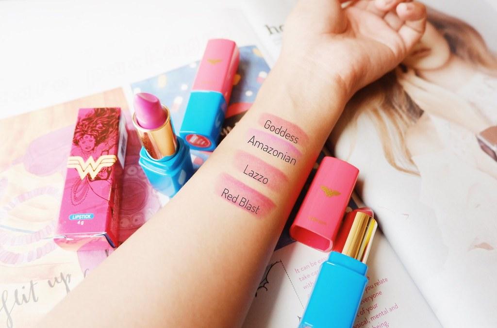 Tupperware Wonder Woman Lipstick Swatches