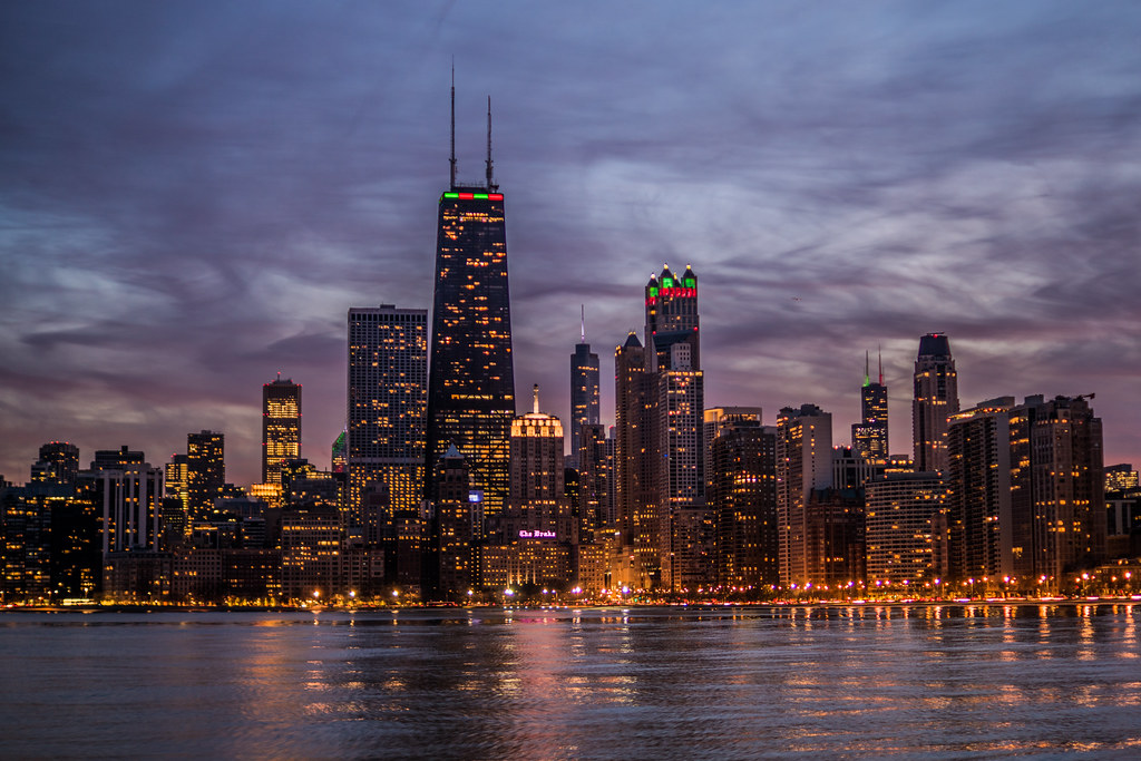 chicago skyline sunset chicago