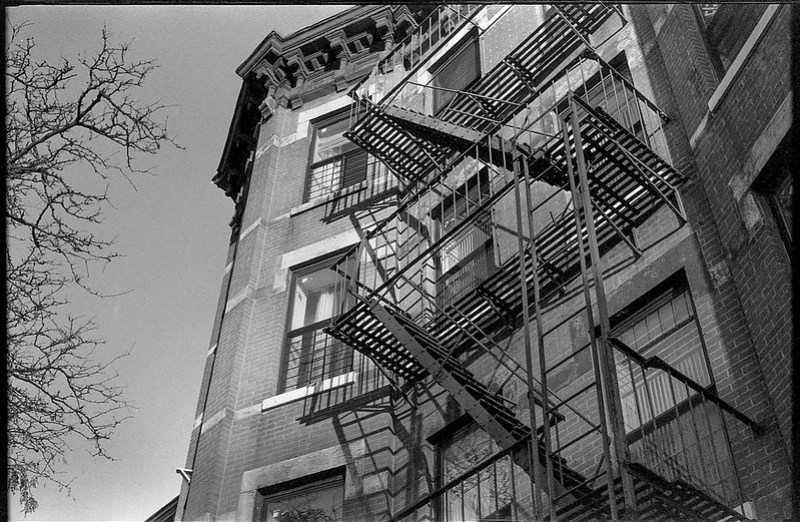 architectural forms and movements, fire escapes, Bedford Stuyvesant, Brooklyn, New York, Kodak Retina IIIc, Arista.Edu 200, Moersch Eco Film Developer, early December 2017