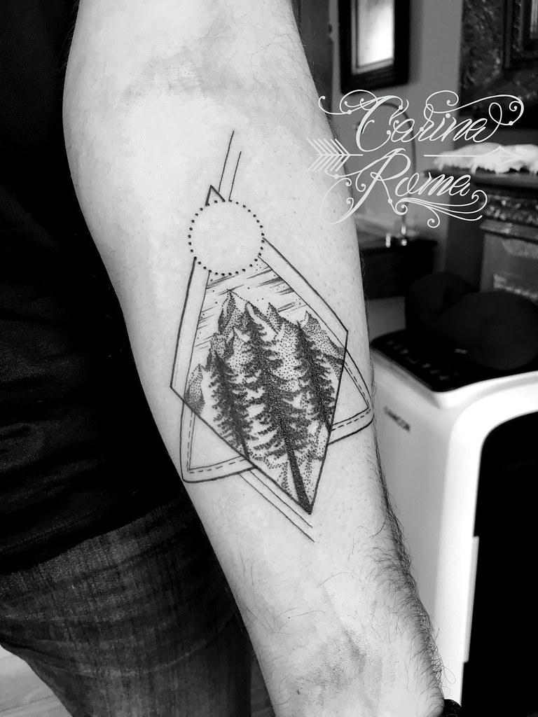 Geometric Forest Tattoo : geometric, forest, tattoo, Geometric, Abstract, Forest, Tattoo, ©Carina, Custom, Tatto…, Flickr