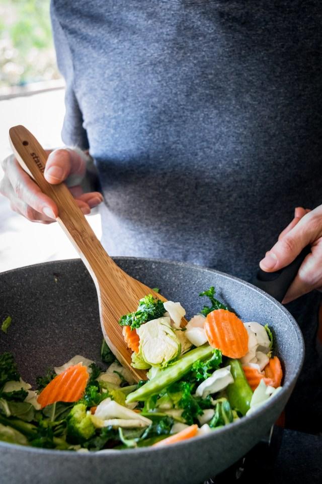 sautéing the fresh veggies