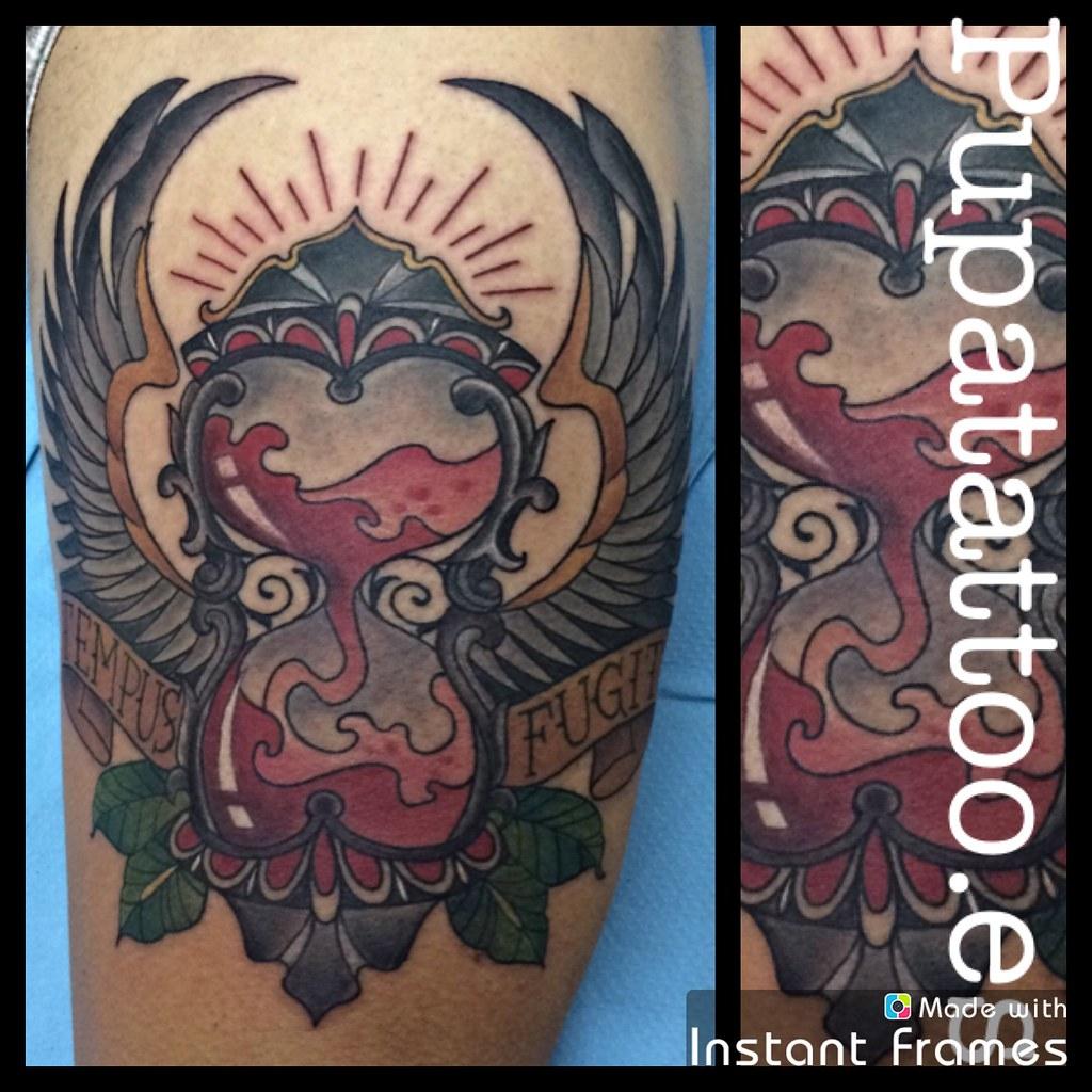 Tatuaje Reloj De Arena Pupa Tattoo Granada Web Wwwpupata Flickr