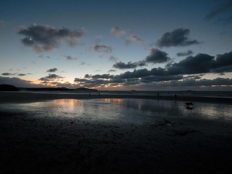 New Moon, Venus, and rampaging dog - Pembrokeshire, Wales