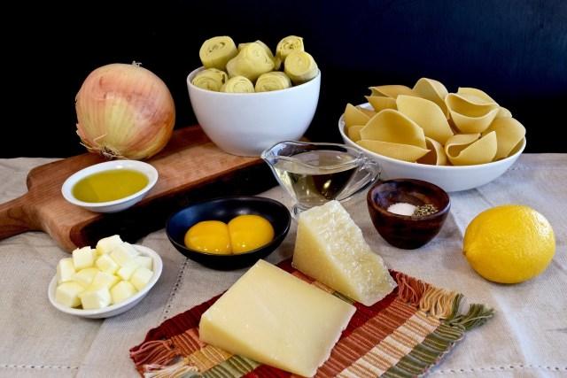 ingredients for the artichoke-stuffed shells