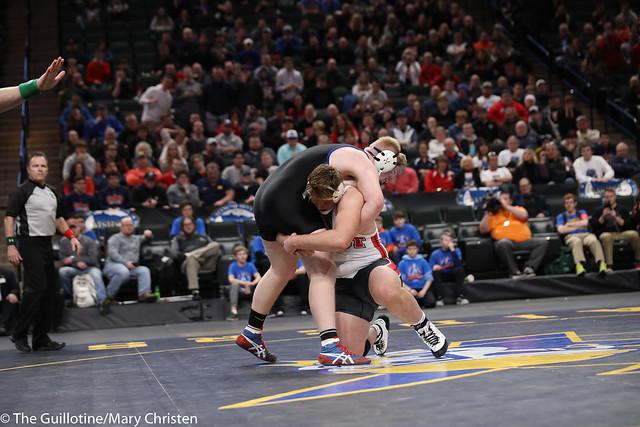 1st Place Match - Zachary Jakes (Mankato West) 41-0 won by decision over Mitch Trigg (Foley) 47-3 (Dec 8-7). 180303CMC7577