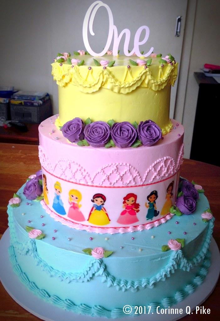 Baby Disney Princess Themed 1st Birthday Cake Strawberry A Flickr