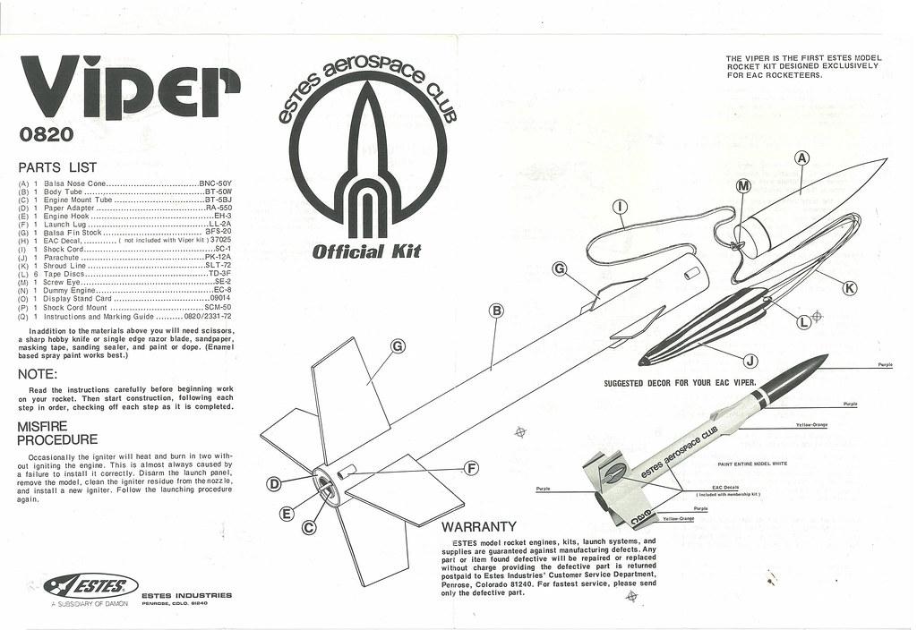 Estes EAC Viper (0820)(Balsa Nosecone Variant) Instruction