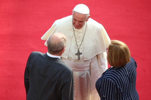Presidente Kuczynski recibie al papa Francisco en Palacio de Gobierno