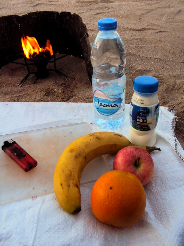 Amazing -- when we woke up at this camp, there were bags on food in front of each of our tents: an orange, apple, banana, and bottles of milk and water! by bryandkeith on flickr