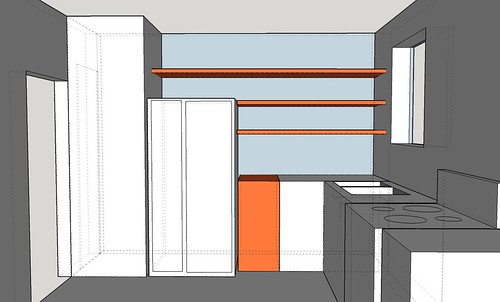 Northern wall plan with shelves