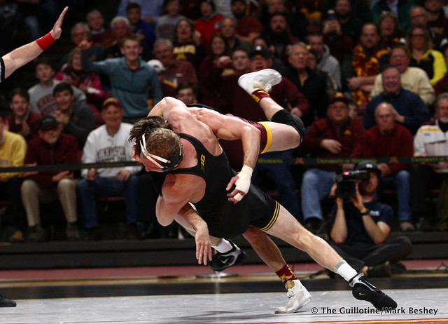 157 #5 Kaleb Young (Iowa) dec. 9 Steve Bleise (Minnesota) 7-1. 190113AMK0019