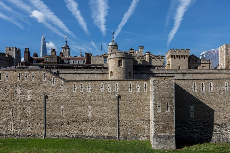 Tower of London with Contrails