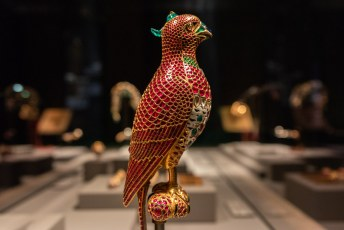 Gem-Set Enamelled Gold Falcon, Mughal, India, 17th century
