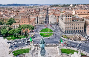 Piazza Venetia from atop the Victor Emmanual Monument