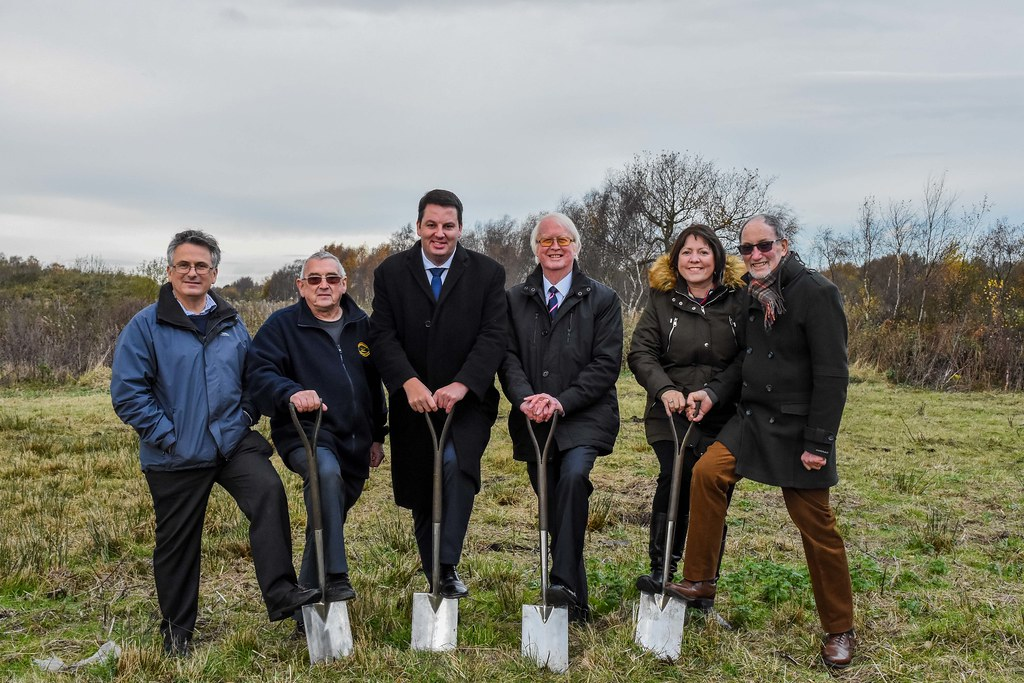 Cutting the first sod for Crowle Peatland Railway's new building