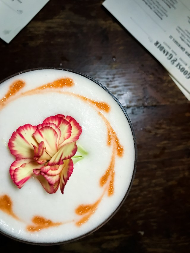"""this stunning cocktail from Goose & Gander is called """"never keep a lady waiting"""""""