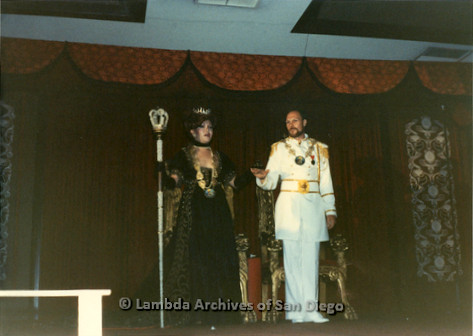 1983 - Imperial Court de San Diego Coronation Ball: Nicole Murray Ramirez Golden Empress XI (left) on stage with Craig Morgan Falcon Emperor XI (Right).