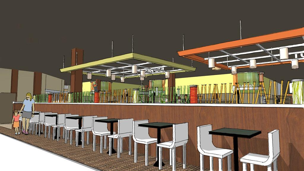 Market Interior Sketch  Modern Grocery Design  3D Grocer