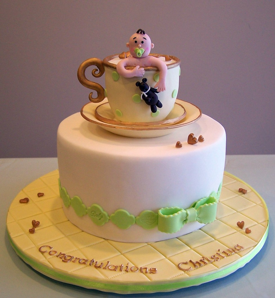 Tea Party Baby Shower Cake I Made This Cake For A Tea Part Flickr