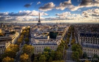 Coucher de soleil depuis l'Arc de Triomphe de l'Étoile / Paris