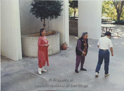 P024.048m.r.t LCCA: Left to right- Jo-Elyn Nourie, Muriel Fisher, Unknown, in white shirt. Outside SDSU