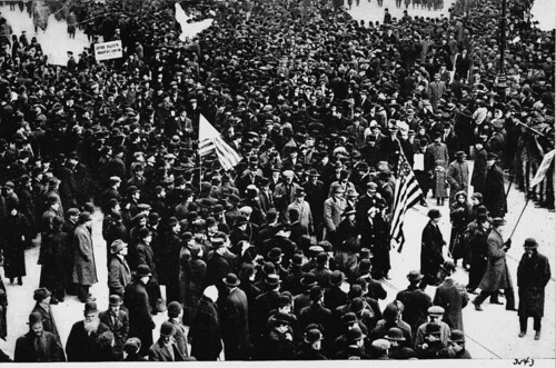 Participants at the first fully organized ILGWU general strike, known as the 'Great Revolt,' Union Square, 1909.