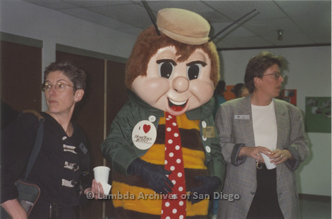 P235.019m.r.t North County Center, San Diego: Karen Marshall (left) and another woman with a Hometown Buffet Bee mascot