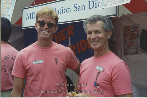 P001.061m.r Pride 1991: 2 AIDS Foundation San Diego vollunteers (from left to right: Randy Laurie and Richard Peterson)