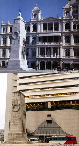 中環遮打道與昃臣道交界(和平紀念碑)1976年 | - 左: 和平紀念碑 - 後方: 第二代香港會 vs 第三代香港會所… | Flickr