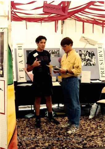 1991- LGBT Pride festival, Frank Nobiletti Board President of Lambda Archives of San Diego educating people about the Pride History Tent.
