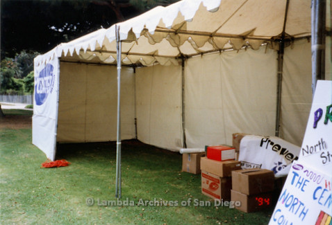 P018.154m.r.t San Diego Pride Festival 1998: The Center booth pre-assembly