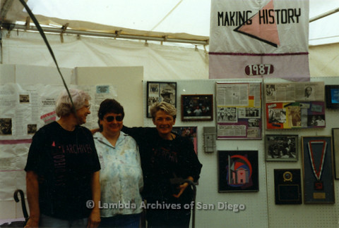P018.014m.r.t San Diego Pride Festival 1987: Diann Dinova and two other women staning in Lambda Archives booth