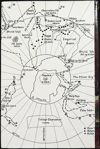 Map of Dune (Planet Arrakis) on rear panel of dust jacket