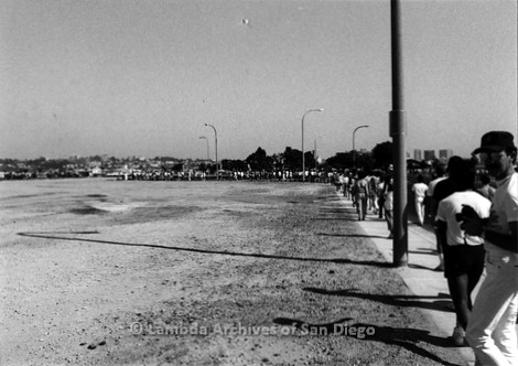 P116.020m.r.t San Diego Walks For Life 1986: Large amount of people walking on sidewalk