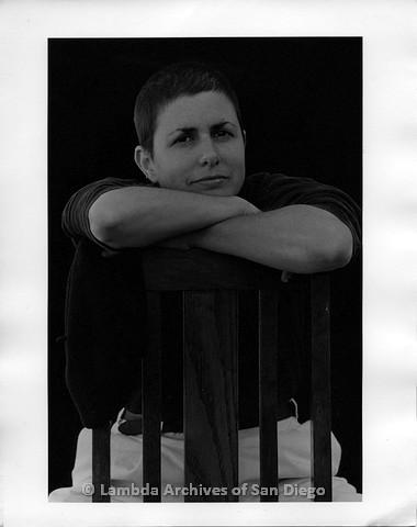 1994 - Photo shoot in Dulzura, CA:  Zanne sitting on a wooden chair.