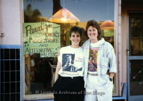 P169.048m.r.t Paradigm Women's Bookstore Grand Opening: Karen Merry standing with another woman outside bookstore