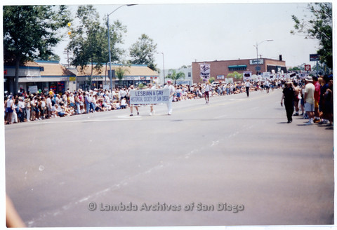 P200.012m.r.t San Diego Pride Parade 1994: LGHSSD banner being carried by Doug Moore and David Wasserman