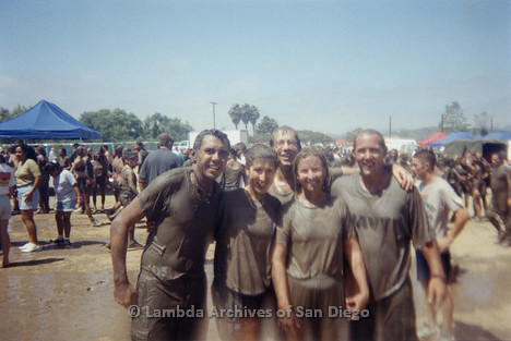 P263.022m.r.t Front Runners and Walkers of San Diego at 1998 Mud Pride: Group of five muddy runners after the mud run