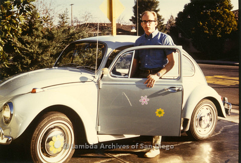 Jess Jessop and his volkswagon  beetle, c.1968