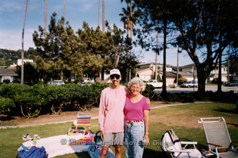 P239.038m.r.t Volunteer Picnic for The Center in La Jolla: Man and woman posing for camera at picnic