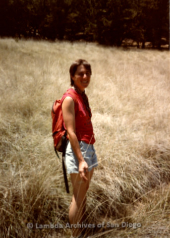 P008.099m.r.t Cuyamaca 1984: Toni in the tall grass