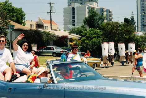 P018.155m.r.t San Diego Pride Parade 1998: Center volunteers in car in parade