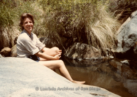 P008.102m.r.t Cuyamaca 1984: Mary Russell by the creek