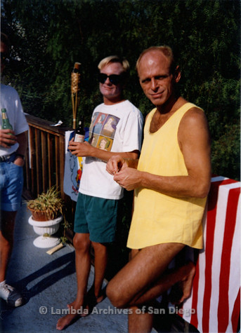 P018.109m.r.t San Diego Pride Festival 1992: David and Jim at Pride pool party