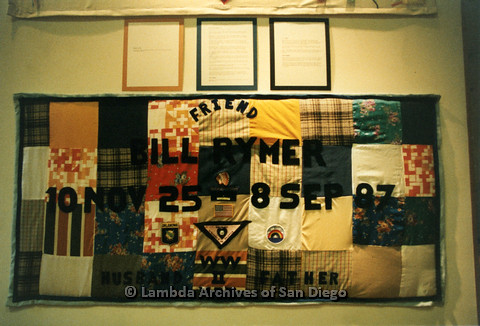 P019.085m.r.t AIDS Quilt at San Diego Golden Hall 1988: Colorful quilt dedicated to Bill Rymer